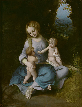 Madonna and Child with the Infant John the Baptist (Correggio, Madrid) - Madonna and Child with the Infant John the Baptist