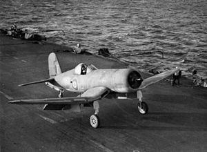 Corsair after landing on HMS Illustrious (87) 1943.jpg