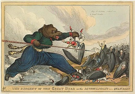 L'ours cosaque, caricature britannique de William Heath, 1828