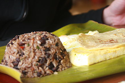 Gallo Pinto is a traditional dish of Nicaragua made with rice and beans. Costa Rican Gallo Pinto.jpg