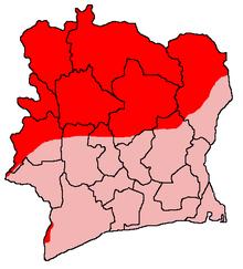 La côte d'ivoire partagée: en rouge les territoires contrôlés par