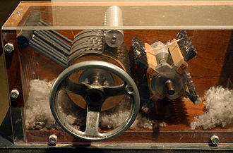 Cotton gin - A model of a 19th-century cotton gin on display at the Eli Whitney Museum in Hamden, Connecticut