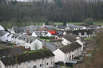Sorn - 1950s council housing in Sorn; the brown building in the centre rear with the cream tower is the primary school