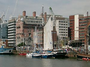 Crane lifting a sail, Canning Dock, Liverpool.JPG