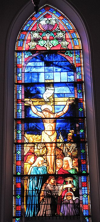 Crucifixion - Crucifixion window by Henry E. Sharp, 1872, in St. Matthew's German Evangelical Lutheran Church, Charleston, South Carolina