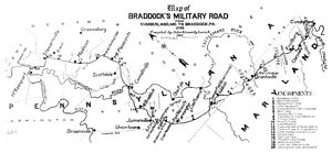 Garrett County, Maryland - Map of Braddock's Military Road from Cumberland, MD to Braddock, PA 1755