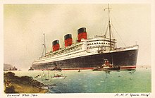 A post card of the rms queen mary