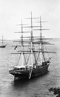 Cutty Sark in Sydney Harbour awaiting a cargo of new season's wool, c.1890 Cutty Sark - waiting in Sydney Harbour for the new season's wool.jpg
