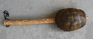 Indigenous music of North America - Men's turtleshell rattle, made by Tommy Wildcat (Cherokee-Muscogee-Natchez