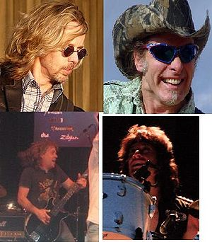 Damn Yankees (band) - Damn Yankees in 2009-Clockwise from upper left: Tommy Shaw, Ted Nugent, Michael Cartellone, and Jack Blades