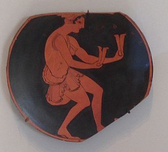 Bones (instrument) - Fragment of a Kylix, Greek, 510-500 BCE, Terracotta, red-figure technique