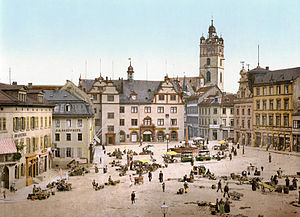 Darmstadt - The 'Schlossplatz', a market square in front of the Ducal Palace around 1900: One of the few areas to survive in similar style after World War II