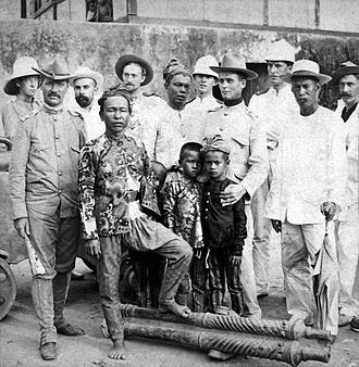 Cotabato City - Datu Piang, fourth from the left, with American officers circa 1899. He was the first governor of the Empire Province of Cotabato; Cotabato City was once the capital of the province from 1920 to 1967.