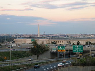Interstate 395 (Virginia–District of Columbia) - Cars on I-395, leaving Washington, D.C. (in distance) and passing by the Pentagon in Arlington, Virginia.