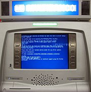 An ATM running Microsoft Windows that has crashed.
