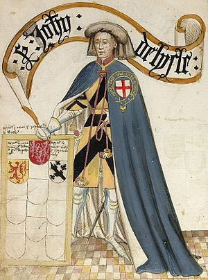 John de Lisle, 2nd Baron Lisle (second creation) - John de Lisle, 2nd Baron Lisle, KG,  ninth founder knight of the Order of the Garter, shown wearing his garter robes over his tunic displaying the arms of Lisle of Rougemont. Illustration from the 1430 Bruges Garter Book made by William Bruges (1375–1450), first Garter King of Arms