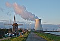 De Molen (windmill) and the nuclear power plant cooling tower in Doel, Belgium (DSCF3859).jpg