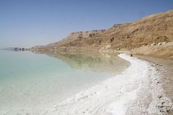 Near Ein Gedi, salt builds up along the shores of the Dead Sea.