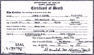 Death certificate of John Otto Siegel, front view