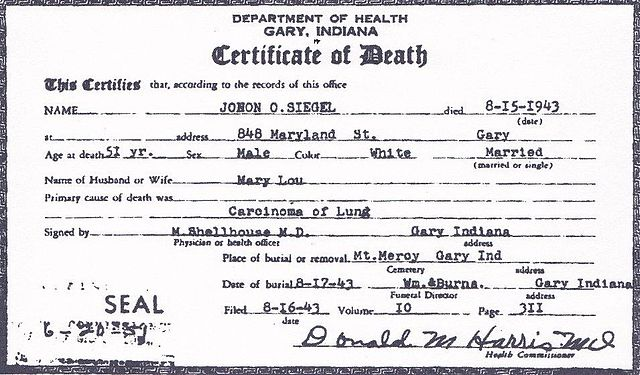 death resolution template - file death certificate of john otto siegel front