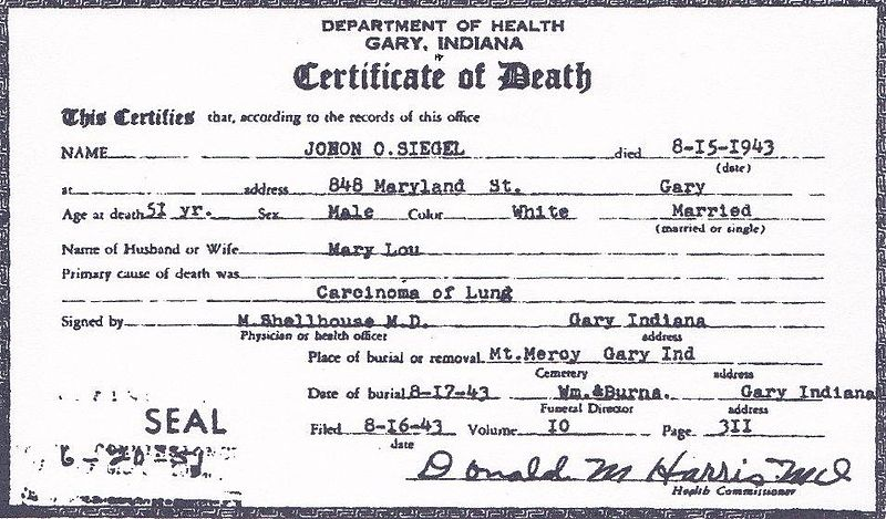 File death certificate of john otto siegel front for Death summary template