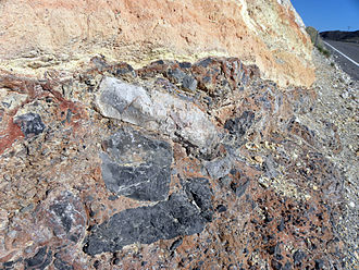 Debris flow - Ancient debris flow deposit, Resting Springs Pass, California.