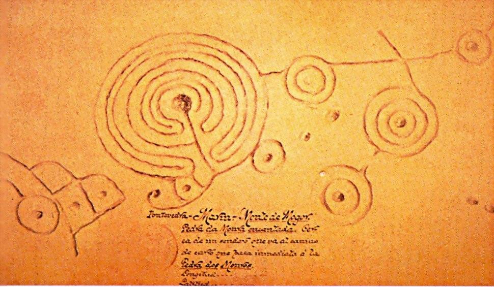 Debuxo de Henrique Campo da Pedra do Labirinto de Marin