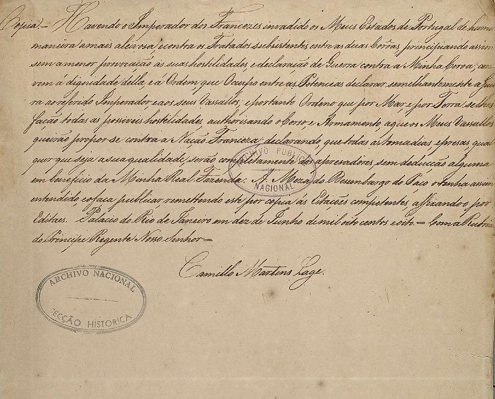 Declaração de guerra feita por D. João a Napoleão Bonaparte e todos os seus vassalo