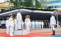 Defence Minister Arun Jaitely presented with a guard of honour during the commissioning of INS Kamorta.jpg