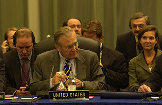 Ukraine–NATO relations - Secretary of Defense Donald Rumsfeld and Victoria Nuland at the NATO–Ukraine consultations in Vilnius, Lithuania, on October 24, 2005