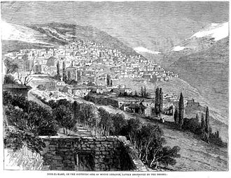 1860 Mount Lebanon civil war - Sketch of Deir al-Qamar from an English newspaper published in July 1860