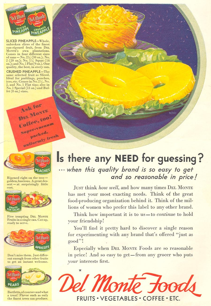Del Monte Foods advertisement, 1932