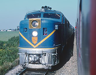 Delaware and Hudson Railway - The Laurentian, passing Train 9, The Montreal Limited, near Delson, Que. on September 1, 1968