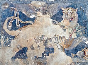 Cult of Dionysus - A Hellenistic Greek mosaic depicting the god Dionysos as a winged daimon riding on a tiger, from the House of Dionysos at Delos (which was once controlled by Athens) in the South Aegean region of Greece, late 2nd century BC, Archaeological Museum of Delos