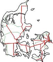 Eisenbahnstrecken, betrieben von DSB