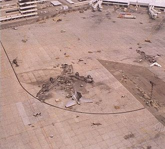 Kuwait International Airport - Photo of the wreckage of British Airways Flight 149.