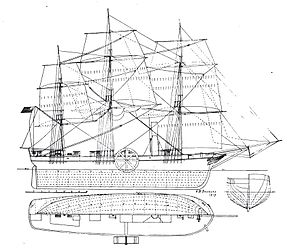 SS Savannah -  Diagram of Savannah, showing lines and sail plan.
