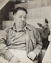 Diego Rivera with a xoloitzcuintle dog in the Blue House, Coyoacan - Google Art Project.jpg