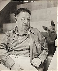 Diego Rivera Diego Rivera with a xoloitzcuintle dog in the Blue House, Coyoacan - Google Art Project.jpg