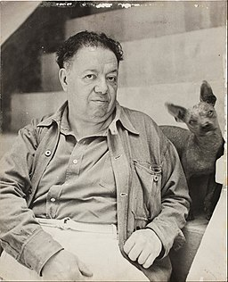 Diego Rivera with a xoloitzcuintle dog in the Blue House, Coyoacan - Google Art Project