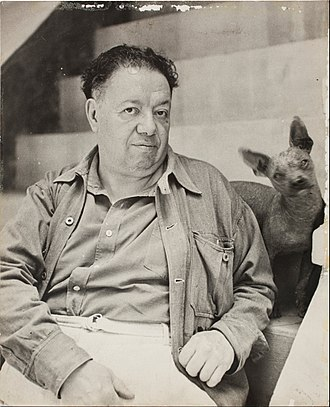 Diego Rivera - Diego Rivera with a xoloitzcuintle, photo taken at the Casa Azul