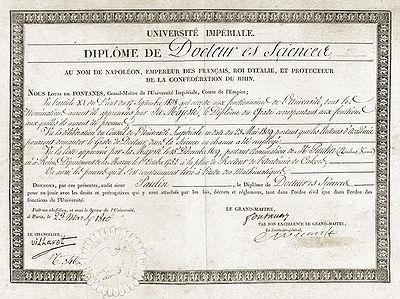 Diplôme de docteur ès sciences daté de 1810