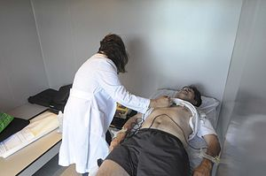Doctor performing a medical test