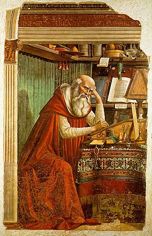 Transmission of the Greek Classics - The Christian medieval scholar St. Jerome (here depicted by Domenico Ghirlandaio, church of Ognissanti, Florence)  was against many Greek ideas.
