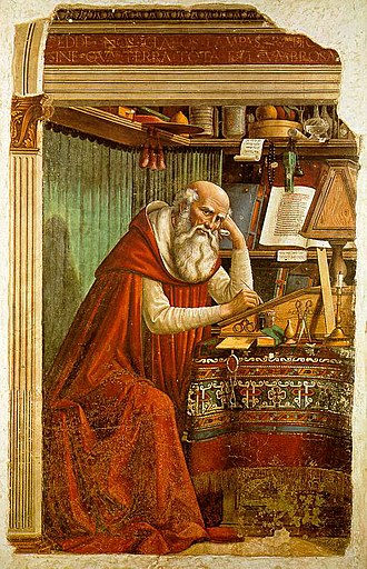 Ognissanti, Florence - St Jerome in his Study, fresco by Domenico Ghirlandaio, 1480