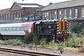 Doncaster Works - Wabtec 08853 shunting LNER Mark 4 12219.JPG