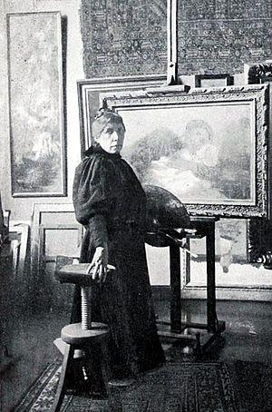 Dora Hitz - Dora Hitz in her studio (1898)