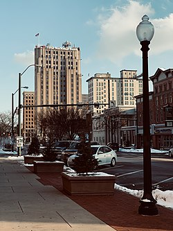 The Metropolitan Tower in Downtown Youngstown facing east from West Federal Street.