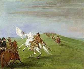 Comanche–Mexico Wars - Comanches meeting the U.S. dragoons near the Wichita Mountains in 1835 by George Catlin.