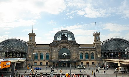 Dresden Central Station is the main inter-city transport hub Dresden Mainstation 2007 04 23.JPG